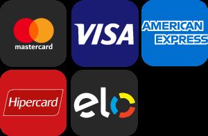 Mastercard, Visa, American Express, Hipercard e Elo